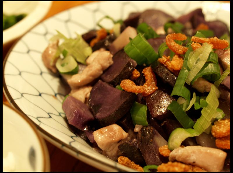 Stirfried purple potatoes