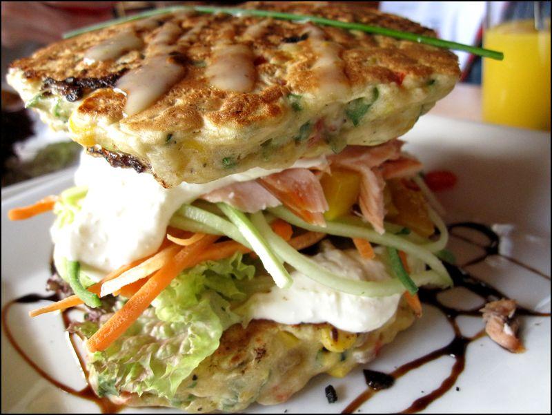 Mountain cafe salmon w zucchini corn fritter